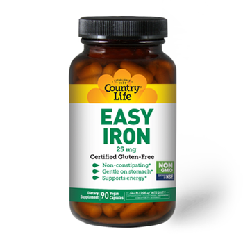 COUNTRY LIFE Easy Iron 25mg 90 Vegan Capsules