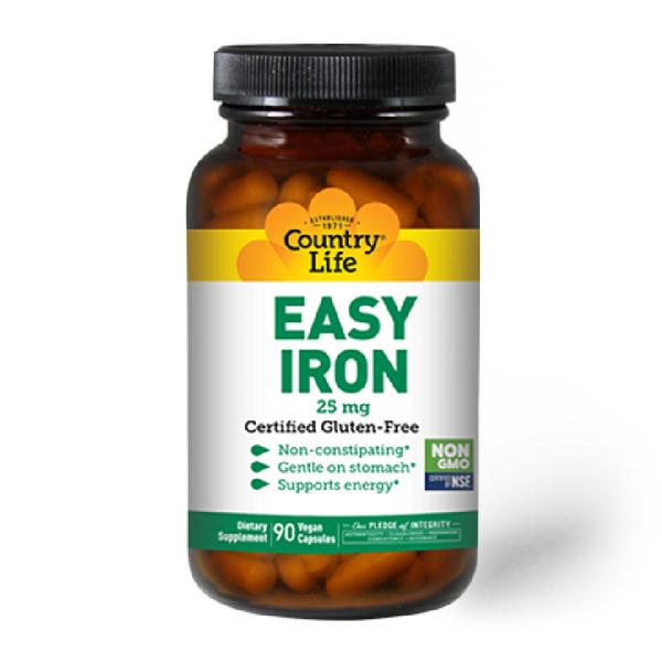 COUNTRY LIFE Easy Iron 25mg 90 Vegan Capsules