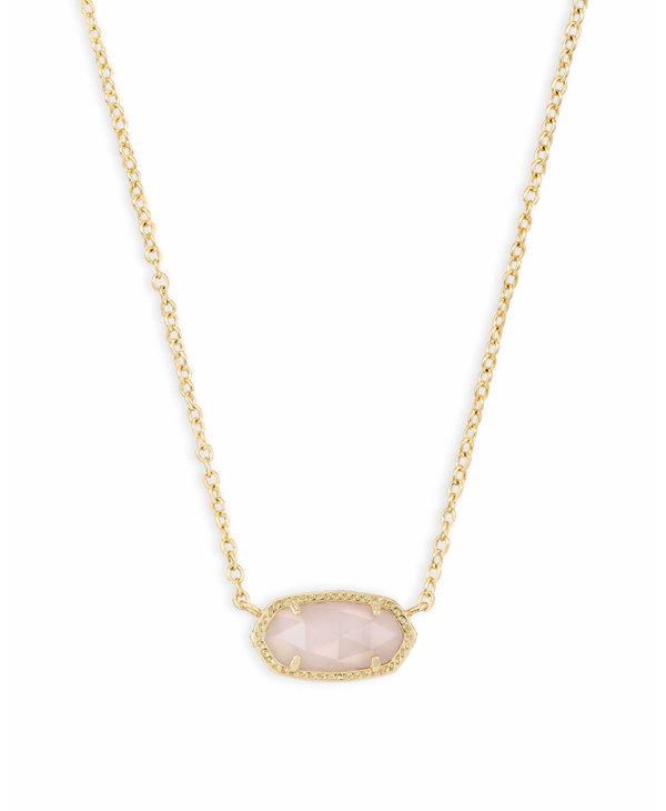Elisa Pendant Necklace in Rose Quartz