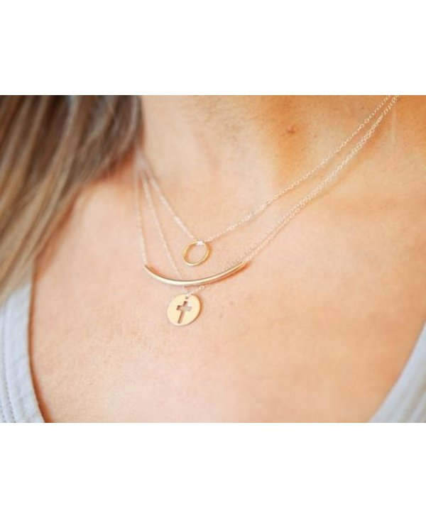 Halo Charm Gold Necklace
