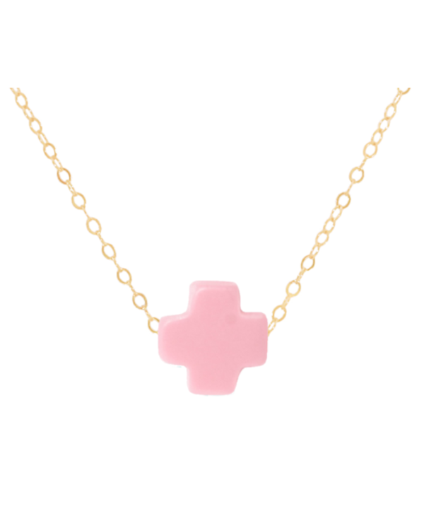 Signature Cross Pink Gold Necklace