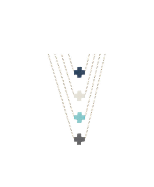 Signature Cross Off White Gold Necklace