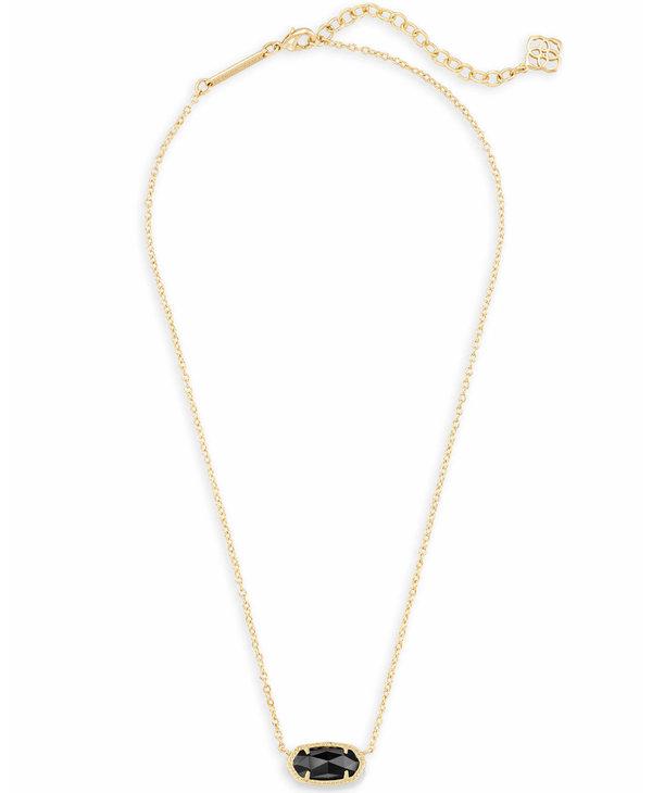 Elisa Pendant Necklace in Black Opaque Glass