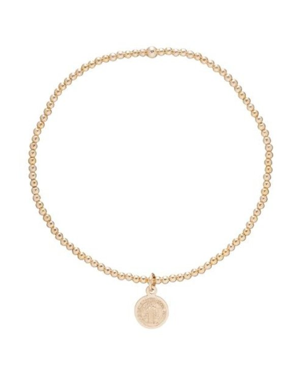 Blessing Small Charm Gold Bracelet in 2mm Beads