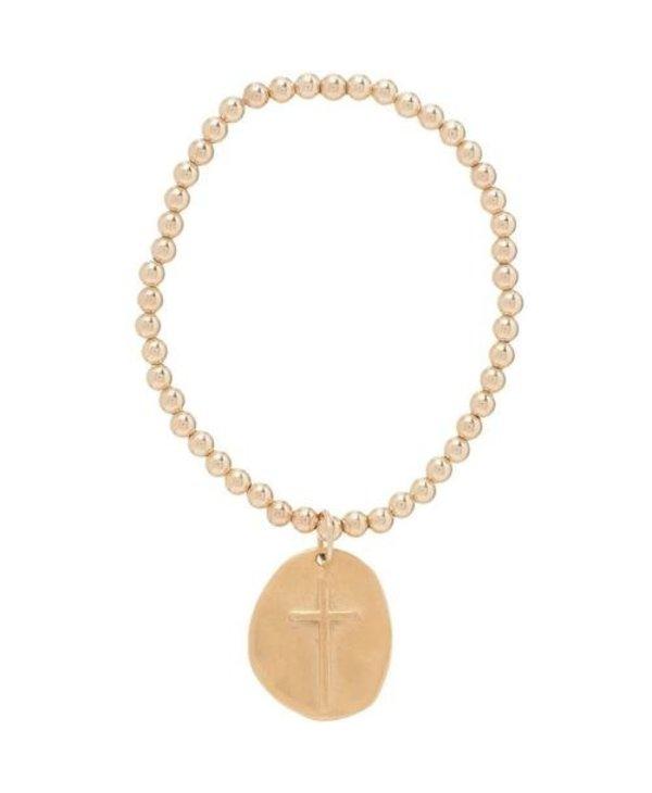 Inspire Gold Charm Bracelet in 4mm Beads