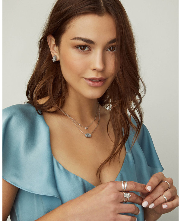 Elisa Pendant Necklace in Rose Gold Drusy