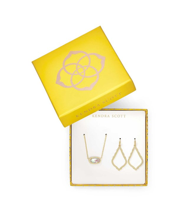 Elisa Necklace & Sophia Earring Gift Set in Gold