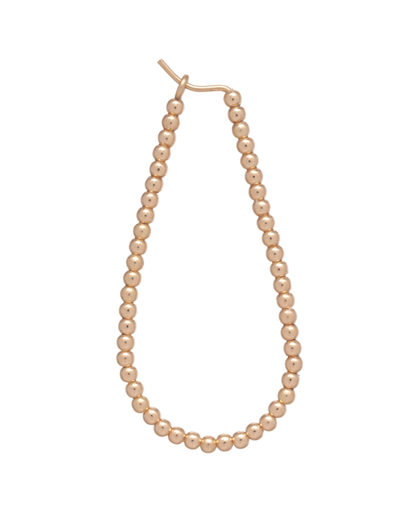 "Beaded Oval 1.25"" Gold Hoop Earring in 2mm Beads"