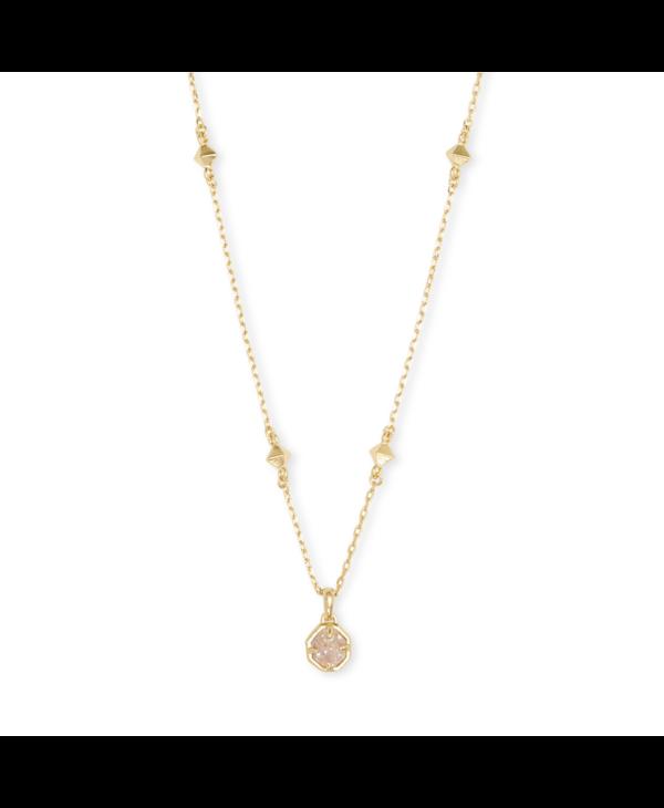 Nola Gold Pendant Necklace in Iridescent Drusy