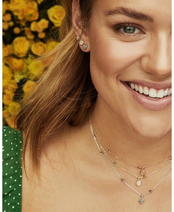 Nola Silver Stud Earrings in Platinum Drusy