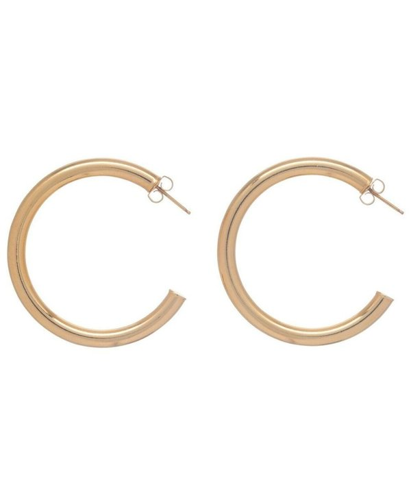 """Round 1.5"""" Gold Post Hoop Earring"""