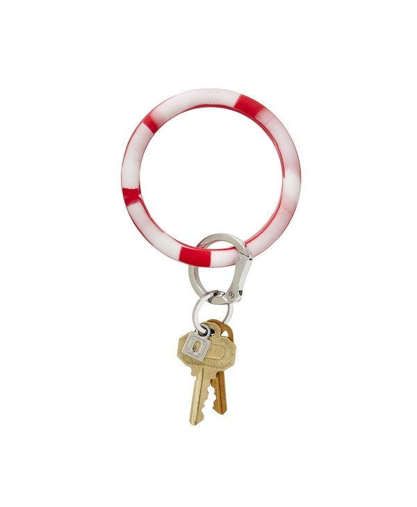 Silicone Big O Key Ring in Cherry On Top Marble