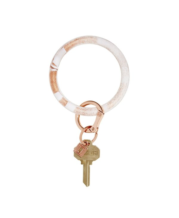 Silicone Big O Key Ring in Rose Gold Marble