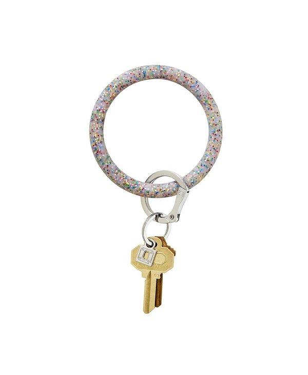 Silicone Big O Key Ring in Rainbow Confetti