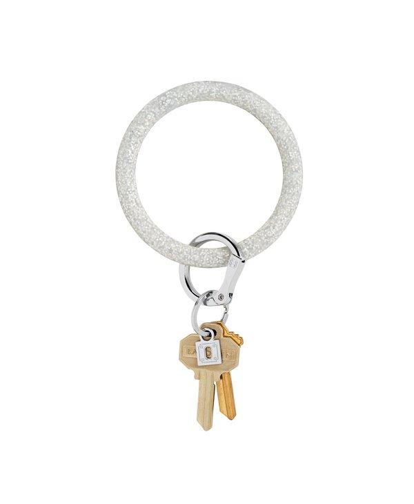 Silicone Big O Key Ring in Silver Confetti