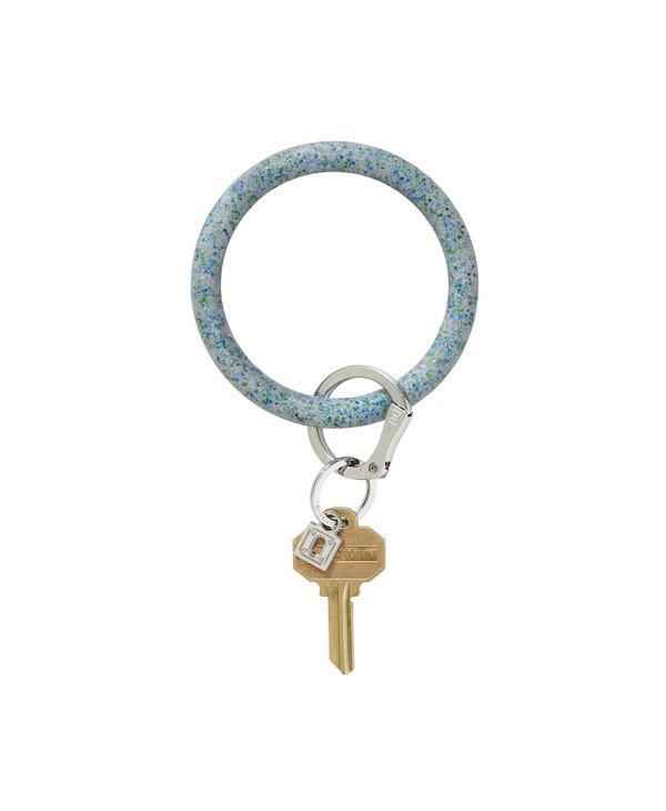 Silicone Big O Key Ring in Blue Frost Confetti