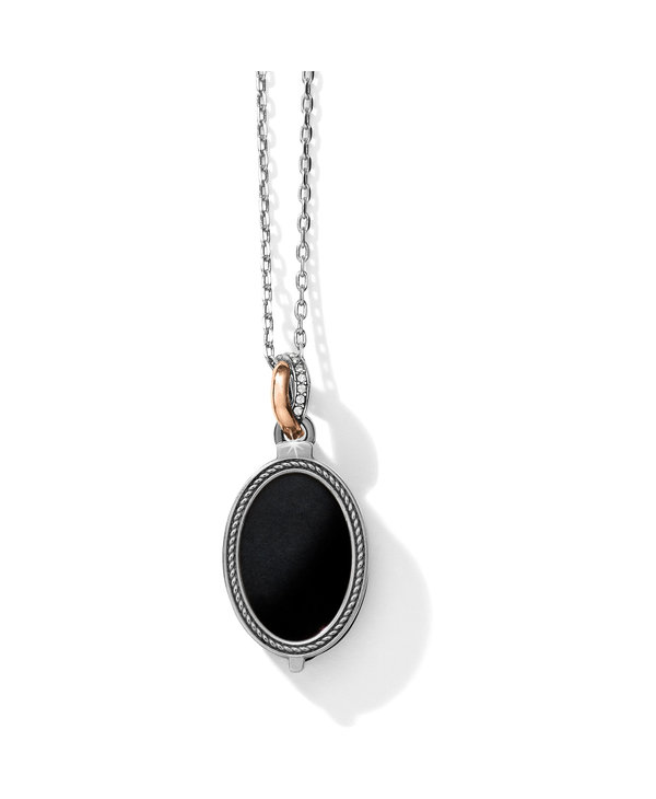 Neptune's Rings Oval Black Agate Reversible Necklace