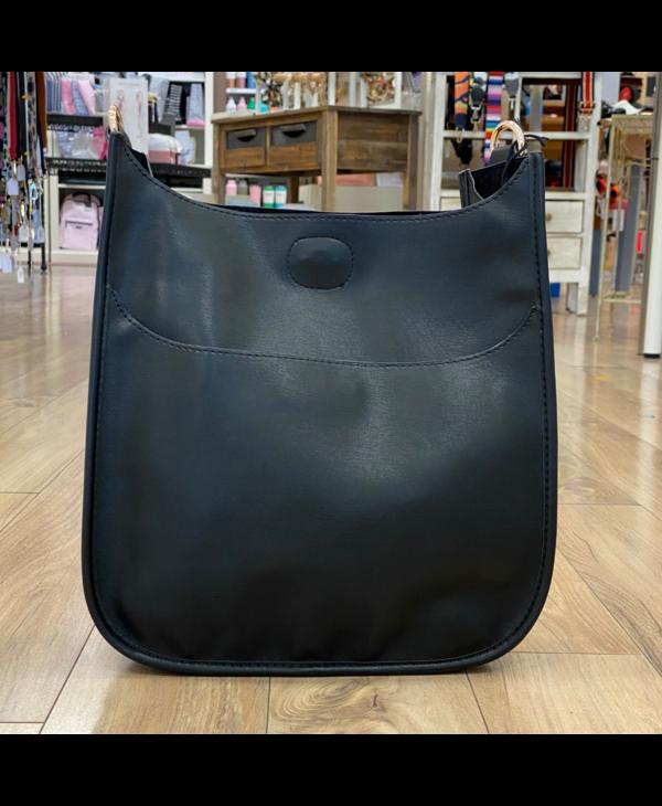 Black Soft Faux Leather Messenger Bag - Gold Hardware