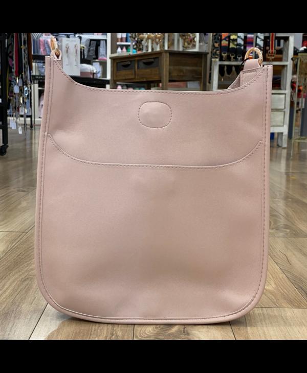 Blush Soft Faux Leather Messenger Bag - Gold Hardware