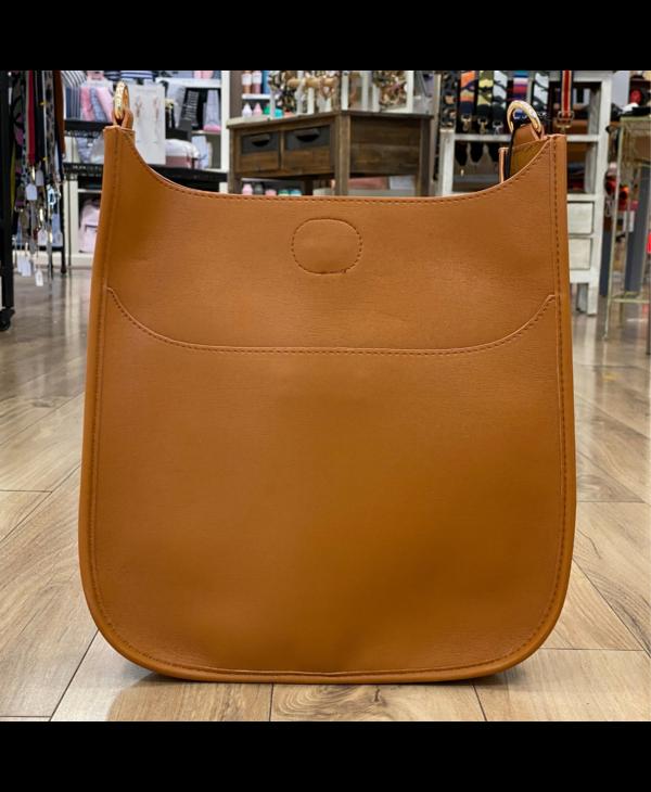 Soft Faux Leather Messenger Bag in Camel - Gold Hardware