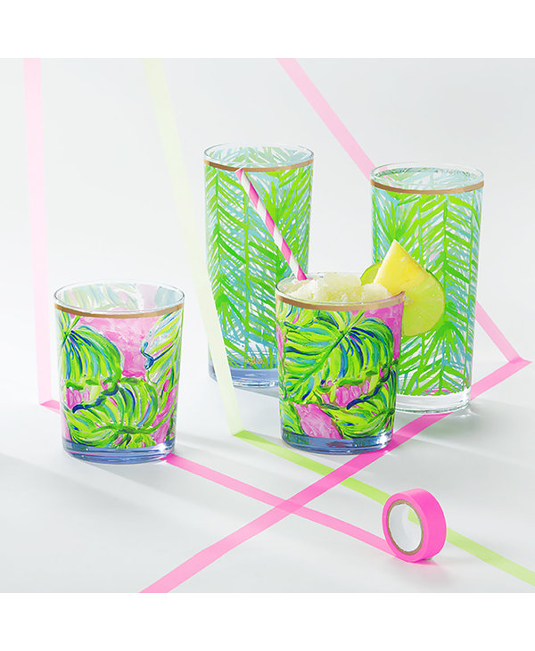 Acrylic Lo-Ball Glass Set in Painted Palm