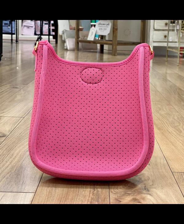 Pink Mini Neoprene Messenger - Gold Hardware