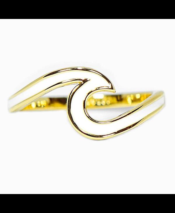 Enamel Wave Ring in Gold