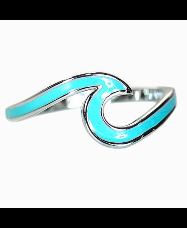 Enamel Wave Ring in Silver