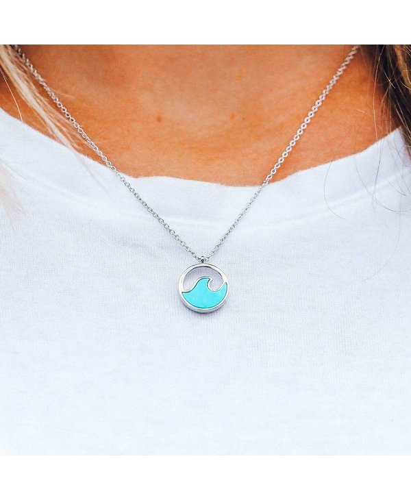 Stone Wave Necklace in Silver