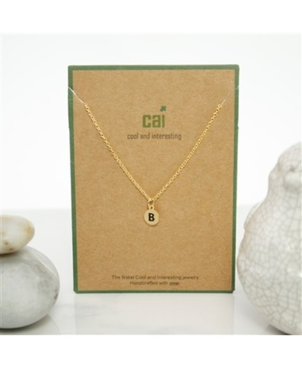 Dainty Disc Initial B Necklace