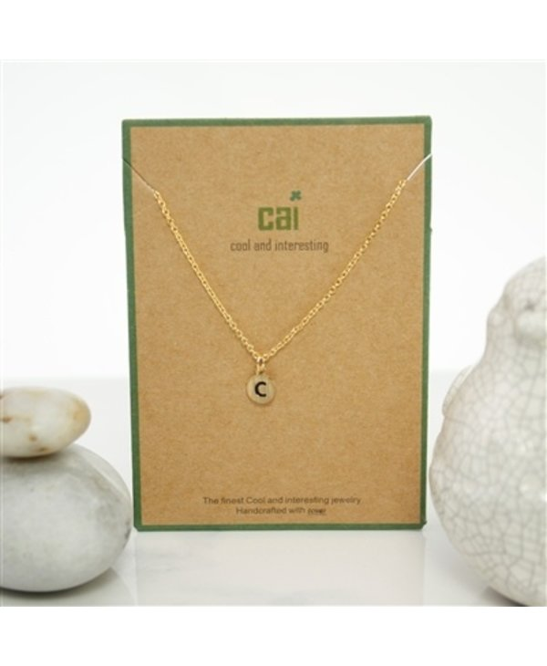 Dainty Disc Initial C Necklace