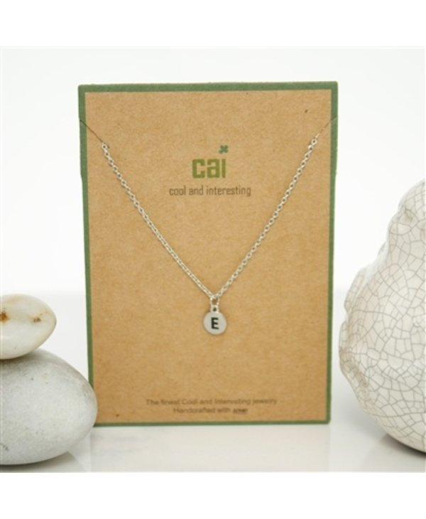 Dainty Disc Initial E Necklace
