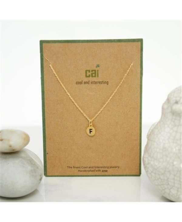 Dainty Disc Initial F Necklace