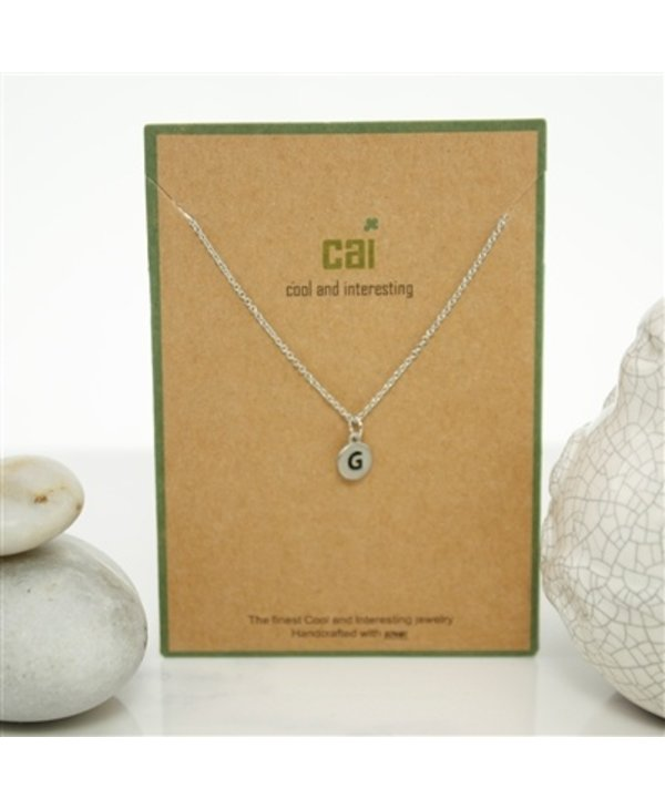 Dainty Disc Initial G Necklace