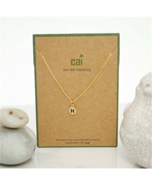Dainty Disc Initial H Necklace
