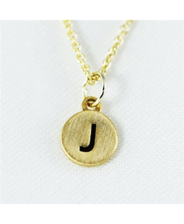 Dainty Disc Initial J Necklace