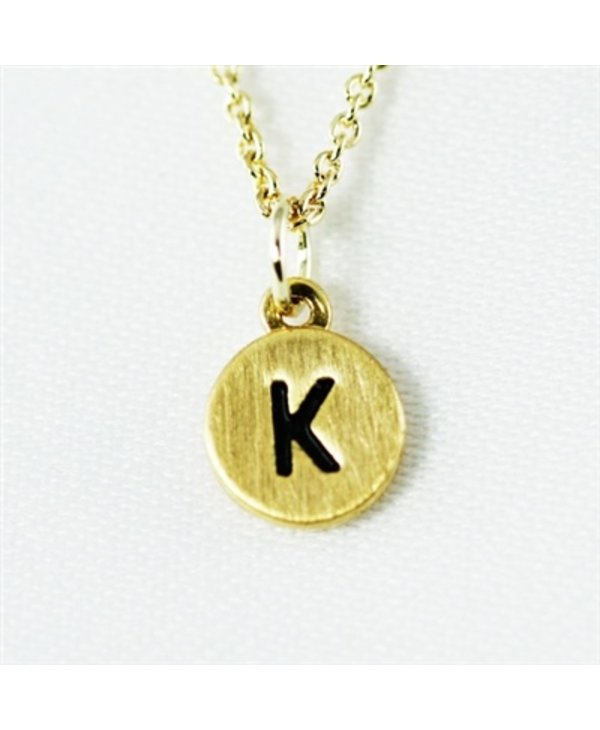 Dainty Disc Initial K Necklace