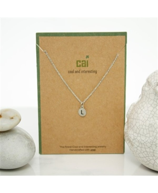 Dainty Disc Initial L Necklace