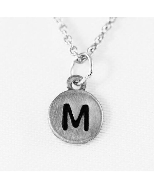 Dainty Disc Initial M Necklace