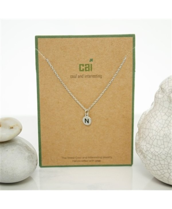 Dainty Disc Initial N Necklace
