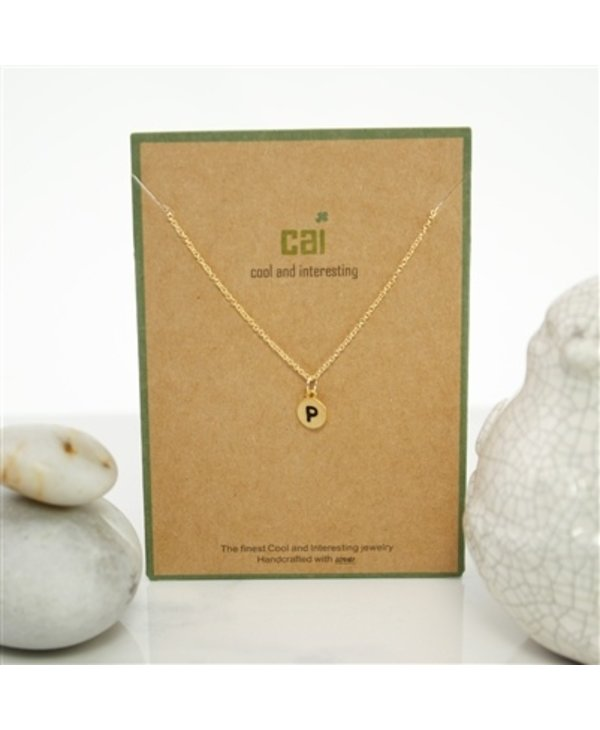 Dainty Disc Initial P Necklace