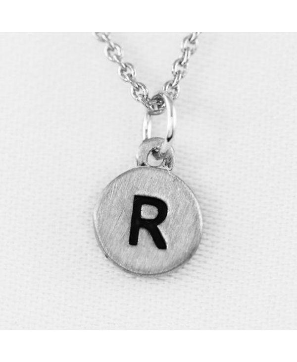 Dainty Disc Initial R Necklace