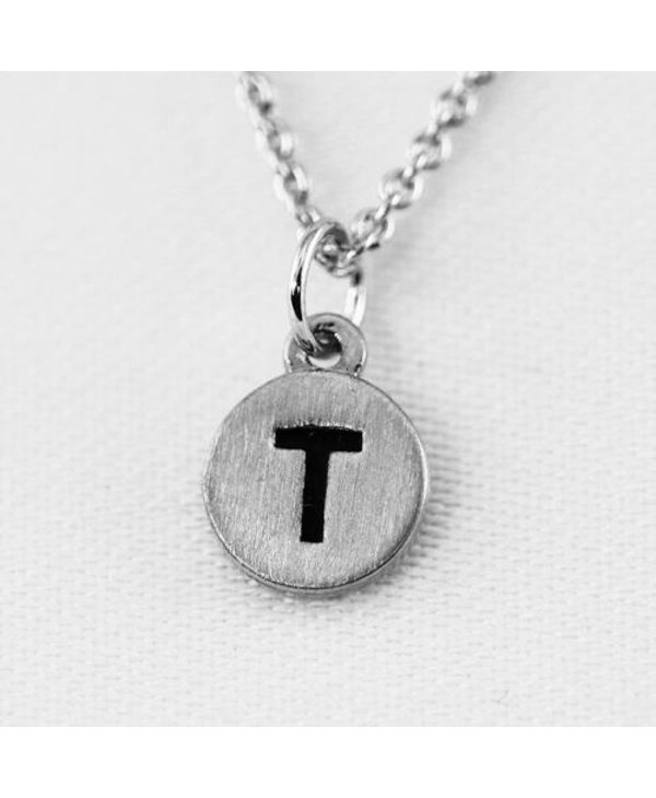 Dainty Disc Initial T Necklace