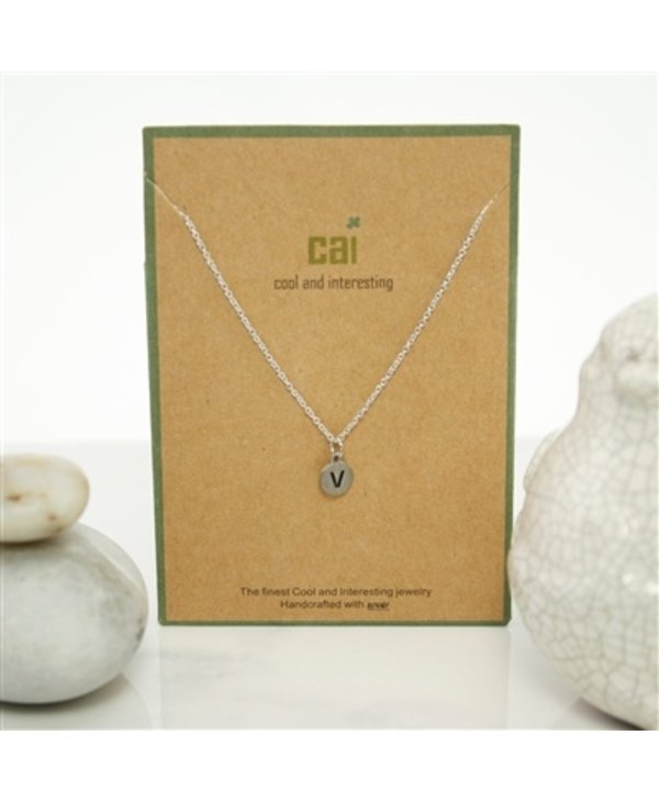 Dainty Disc Initial V Necklace