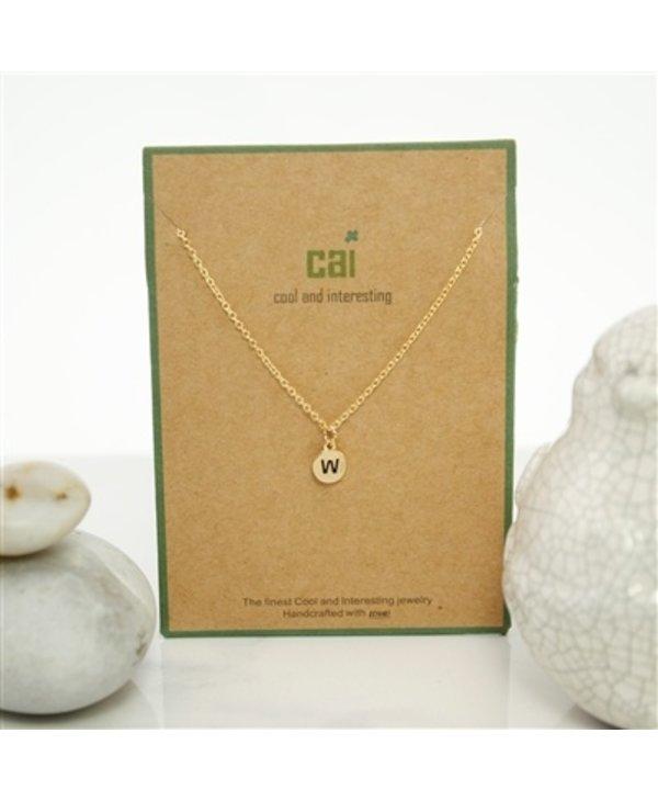 Dainty Disc Initial W Necklace