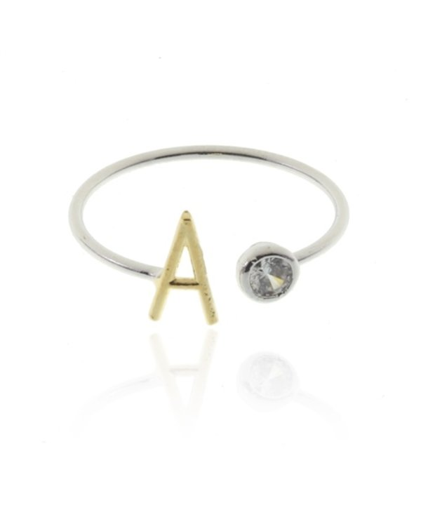 Two Tone Initial A Ring
