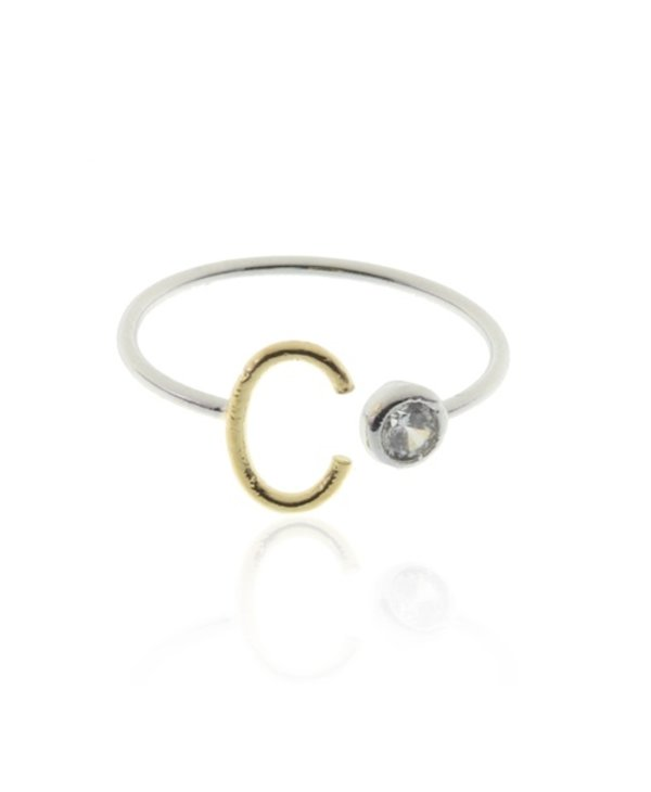 Two Tone Initial C Ring