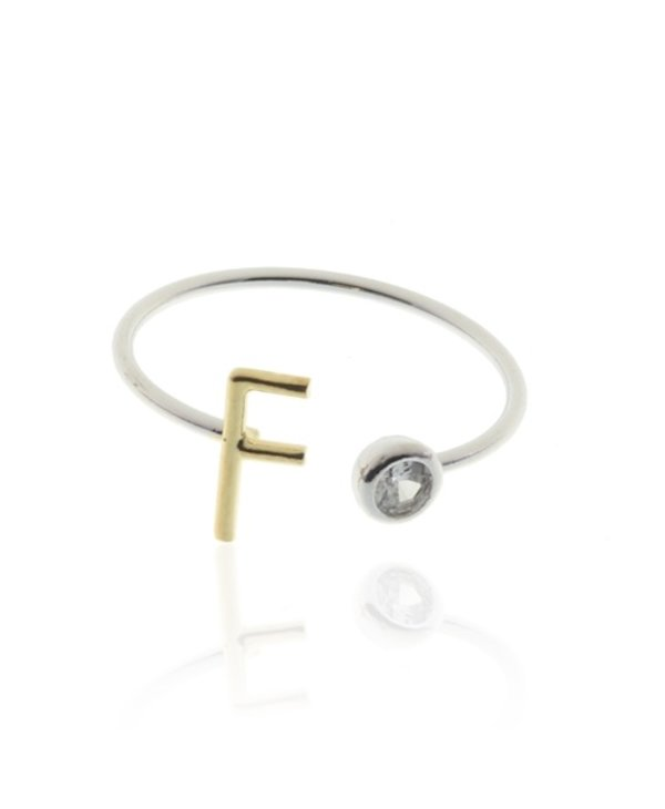 Two Tone Initial F Ring