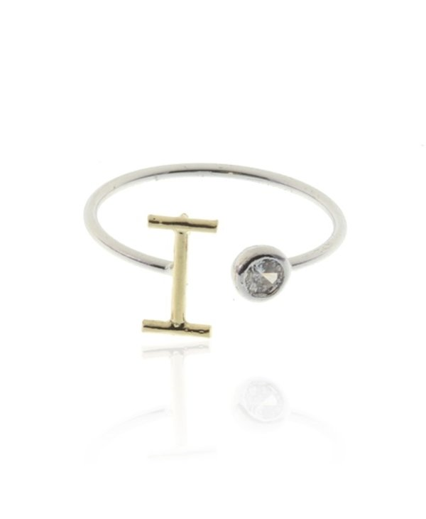 Two Tone Initial I Ring