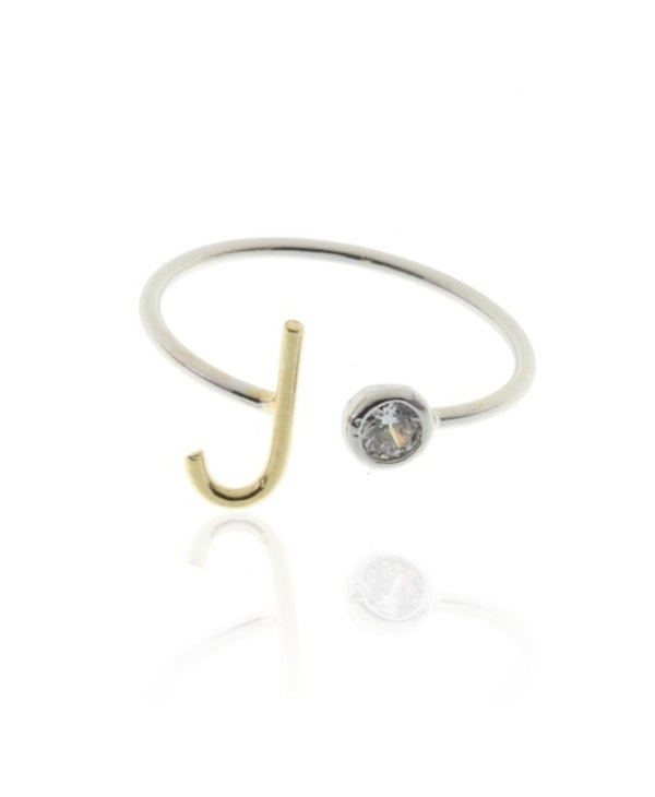 Two Tone Initial J Ring